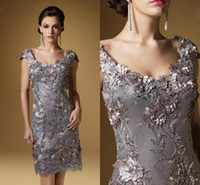 Wholesale 2014 Scoop Neck Cap Sleeves Knee Length Mother s Evening Dresses Hand Made Silver Embroidery Flowers Mother of the Bride Dresses