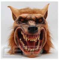 Wholesale Halloween Brown Horror Creepy Adult Wolf Mask Head Latex Rubber Mask Costume Prop Novelty Nu Knock Off Exaggerated