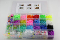 Cheap Rainbow loom for Kids DIY bracelets with 3200ps rubber bands, 6 hook,Clips+Charms+Hook+Box Kit