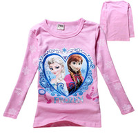 Cheap 2014 New Girls T-shirt Cute Cartoon Frozen Anna Elsa Princess Pattern Long Sleeve Tops Tees Children Kids Fashion Spring Autumn Clothing