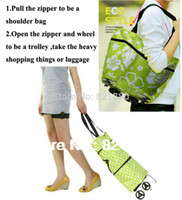 Cheap Wholesale-OP-Free shipping portable shopping cart,foldable shopping trolley tote bag with wheel Rolling folding shopping bag