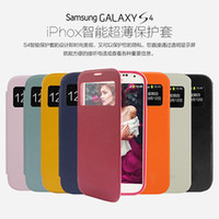 Wholesale Samsung I9500 mobile phone holster S4 Slim Business protective sleeve brushed leather factory turn around