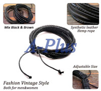 Wholesale 20pcs New Fashion Wrap Multilayer Synthetic Leather Bracelet with Braided rope Fashion drop shipping