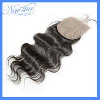 Cheap Brazilian Virgin Hair body wave Silk Base lace closure . 10-20inch in stock Free shipping