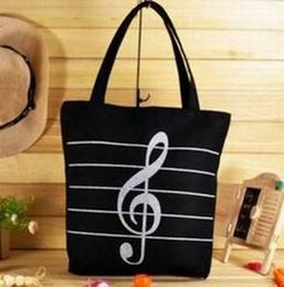 Wholesale-OP-Free Shipping Fashion Casual Women Handbags,Music Notes Canvas Shopping Bags, Environmental Protection Big Bags, Reusable Bags