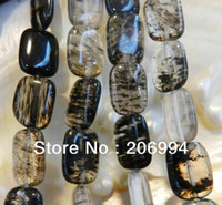 "Cheap free shipping new arrive 13x18mm black tourmaline gems loose beads 15"" 2pc lot fashion jewelry"