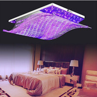 crystal chandelier light - 108 CM Modern crystal chandelier LED Color Changing with Remote Control Body style ceiling light Pendant Chandelier