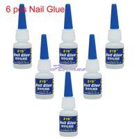 Cheap Wholesale-OP-Free Shipping 6 Pcs 10g GLUE ACRYLIC UV GEL FALSE Full French NAIL ART TIPS Decoration Tools,HB-Glue04-BYB10G*6
