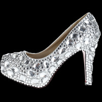 Cheap 2014 Online Women Comfortable Platform Silver Rhinestone High Stilettos Wedges Heels Wedding Evening Dress Party Prom Bridal Pumps Shoes