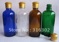 Cheap 200 lot 100ml glass essential oil bottle with gold aluminum cap,cosmetic container,packaging H3565