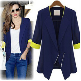 Wholesale 2014 Fall Autumn Winter Fashion Women s Blazers Coat Jackets Casual Plus Size Slim OL Suit Jackets Ladies Girls Coats Outwear Clothing W14