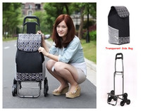 Cheap Wholesale-OP-Hot Folding 6 Roller Shopping Bag on Wheels,New Design Good Quality Women Oxford Trolley,Large Easy Go Upstairs for Aged People