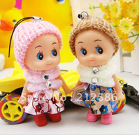 Cheap Wholesale-OP-Free shipping 50pcs cheap lovely Cute mini doll for girls as mobile phone charm chain key chain bag charm pendant
