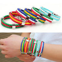 Wholesale OP Promotion Gifts Football Soccer Fans Women Men Leather Flag Bracelet Loom Bands Bracelets Jewelry