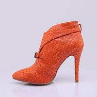 Wholesale 2014 new winter high heeled boots fine with Ms Duantong pointed orange snake skin decorative metal buttons ladies shoes