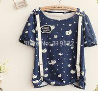Cheap Detachable belt cat kitty cute print personalized women t-shirt tee 2014 summer top+ 2014