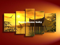 Cheap 5 Panel Wall Art Landscape Orange Feng Shui Yellow Oil Painting On Canvas Orient Modern Living Room Decor