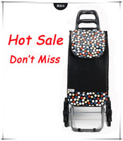 Cheap Wholesale-OP-Foldable Wheels Bag for Shopping Top Grade Dot Rubber 6 Rolling Trolley New Design Brown Black Women Large Easy Go Upstairs