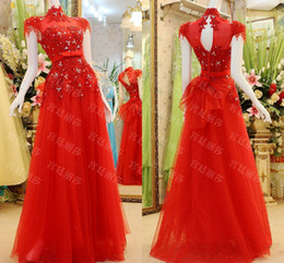 Wholesale Real image Sexy Red Chinese Dress High Collar Cap Sleeve A Line Floor Length Applique Crystal Evening Gown Tulle Prom Dresses Cheap