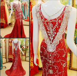 Wholesale 2014 Sexy Formal Evening Maxi Dresses uk Real image Sweetheart Mermaid Sweep Train Luxury Crystal Beads Vintage Sequins Prom Dress By Olesa