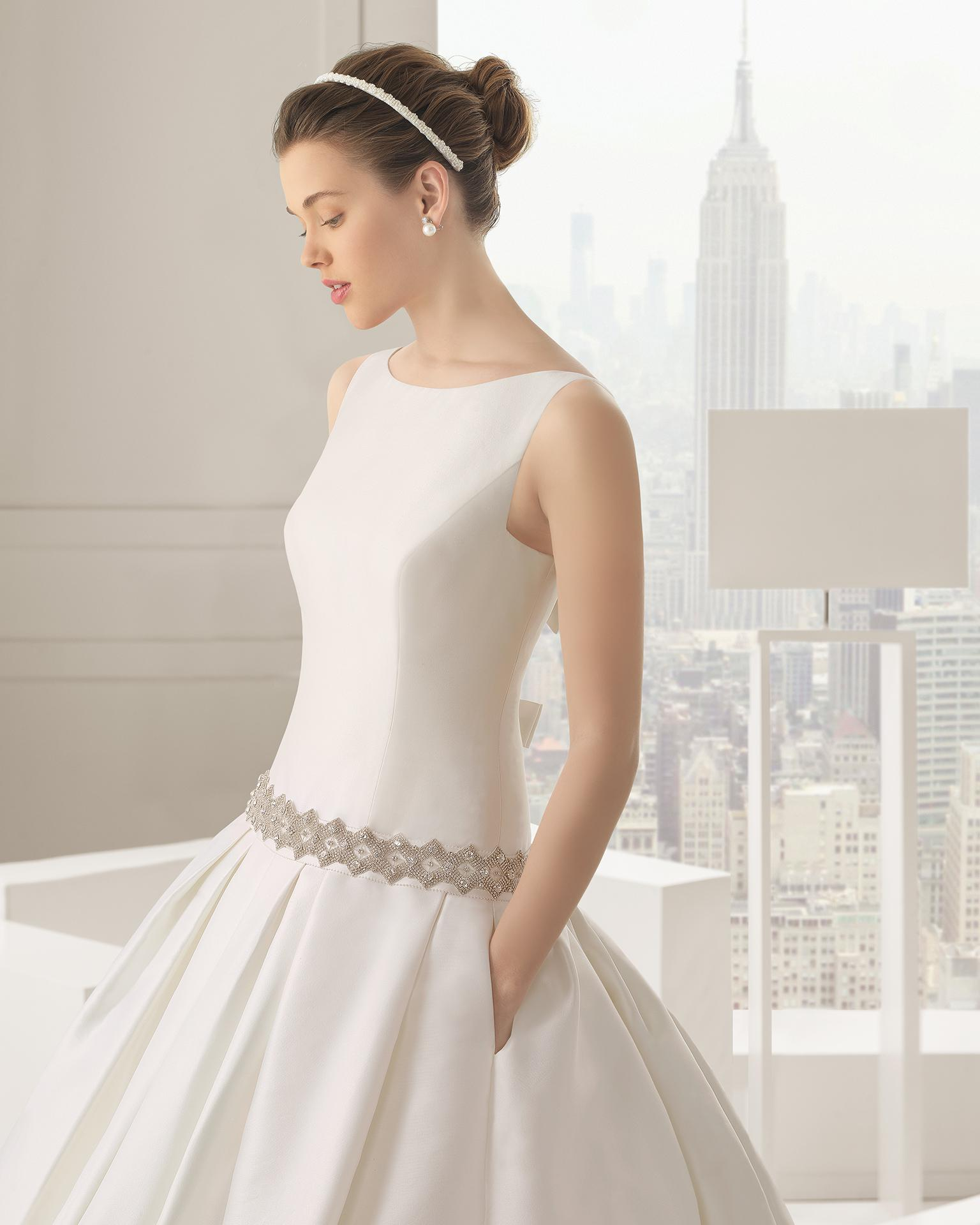 ivory satin low waist wedding dress plus size ball gown