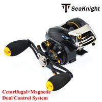 Cheap SeaKnight Brand SK1200 Dual Control System Baitcasting fishing reel 14 ball bearings 215g carp fishing gear Right Hand reel