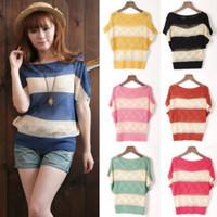 Cheap 2014 New Women Bat-wing Hollow Cardigan Loose Pullover Sweater Shirt Jumper Gilrs Summer Short Sleeve Free Shipping