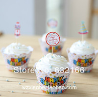 Wholesale happy birthday decoration baby shower for party cupcake wrappers kids children child fancy cup cake toppers picks