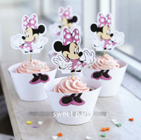 Wholesale Minnie Mouse cupcake wrappers toppers cake picks birthday party baby shower decorations supplies favors for kids