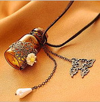 Cheap Wholesale - Vintage Carved Flower Make A Wish Cork Bottle Leather Necklace Wishing With Butterfly And Pearl