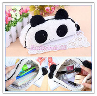 Wholesale 3D Panda Plush Pencil Bags Student Girl Boy Pencil Box Pen Case Cosmetic Makeup Bag Pouch White