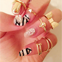 Wholesale 7Pcs Set Skull Bowknot Heart Nail Knuckle Band Ring Mid Finger Tip Stacking Rings Set Gifts sets