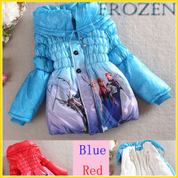 Wholesale 2014 Winter Girls Frozen Outwear Children Coat Elsa Anna Princess Cotton Jacket Fashion Children Thicker Coat Blue And Red NC GD001