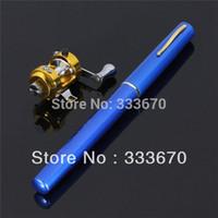 Cheap 2014 Hot Sale Mini Pen Shape Fishing Tackle Rod Pole w Reel Pocket Aluminum Alloy Blue Free Shipping