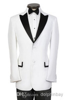 Cheap S072 new white two button with black notch lapel wedding Groom Bridegroom Man Tuxedo formal business Suit for men (jacket+vest+pants+tie)