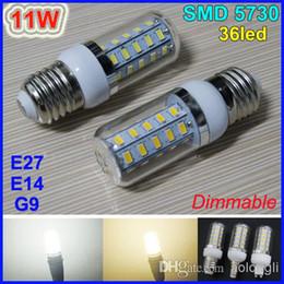 11W with cover LED Corn Light Bulb 36 leds SMD 5730 Dimmable LED Lamp E27 E14 G9 Warm White White 110V 220V corn bulb energy saving lighting