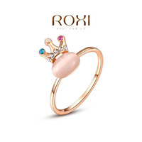 Cheap ROXI New Arrivals Rose Gold Plated Crown Opal Ring Statement Rings Fashion Jewelry Gift For Women Party Wedding Free Shipping