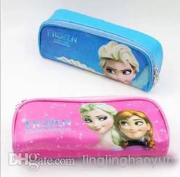 Wholesale hot Brand New Korean Frozen Cartoon PU Zipper Pockets Kids Childs Pencil Bags Makeup Bag Blue Pink