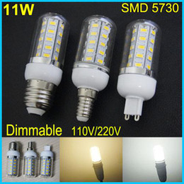 30pcs lot Dimmable 11W 36 leds SMD 5730 LED Corn Light Bulb E27 G9 E14 with cover LED Lamp Warm White White 360 degree 110V 220V corn bulbs