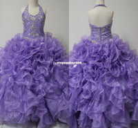 Wholesale Real Picture Little Girl s Pageant Dresses Glitz Toddler Halter Crystals Purple Long Baby Flower Dress For Girls Kids Party