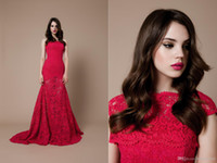 Wholesale 2015 Fall Strapless Lace Backless Cap Sleeve Two Pieces Red Mermaid Wedding Dresses Evening Dress long Train Court Train
