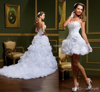 beach mini skirts - 2014 New vestido de noiva White Ball Gown Wedding Dresses Strapless two in one Removable Skirt Mini Short Summer Winter Beach Bridal Gowns
