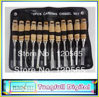 Cheap Free shipping High quality 12 in 1 wood Carving Chisel Tool set, carpenter tools, graving knife