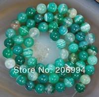 Piedra preciosa natural al por mayor 6mm franja verde ágata gema ónix 15quot grano redondo flojo; 2pc / lot joyería de moda