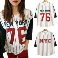 Cheap 2014 Dongguk door stylenanda number Women 76 NYC bars spell color round neck short sleeve T-shirt 2819