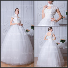 Wholesale High Neck Lace Wedding Dresses with Capped Sleeves Beaded Tulle Garden Vintage Wedding Gowns Floor Length Backless Bridal Gowns BZP0375