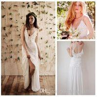 Cheap Hot Sale 2014 Spaghetti Straps Bohemian Beach Wedding Dresses Floor Length Backless Boho Chiffon&Lace Summer Bridal Gown