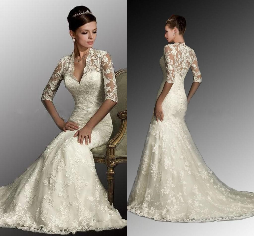 2016 Modest Lace Sheer Mermaid Wedding Dresses Appliques V
