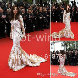 Wholesale 2014 Sexy najwa karam in cannes Red Carpet Celebrity Dresses V Neck Long Sleeves Sweep Train Mermaid White Lace Evening Dresses TB066