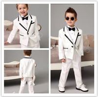 Wholesale Cute White With Black Trim Kid s Ring Bearer Suits fashion boys formal occasion wear boy suits for wedding